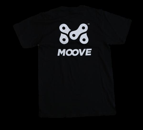 M Logo on back of tshirt.